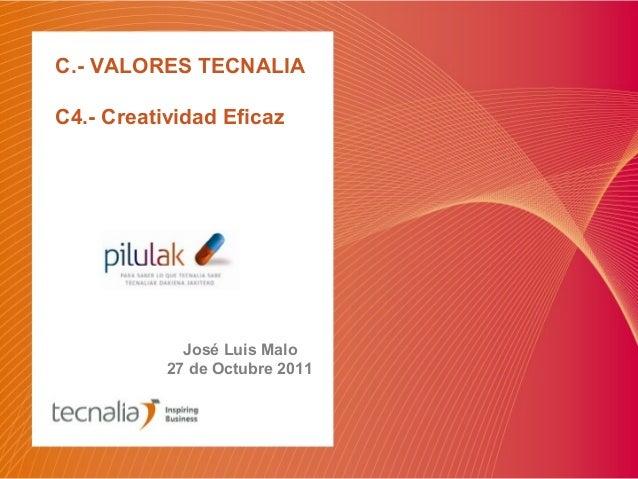 C.- VALORES TECNALIA C4.- Creatividad Eficaz José Luis Malo 27 de Octubre 2011