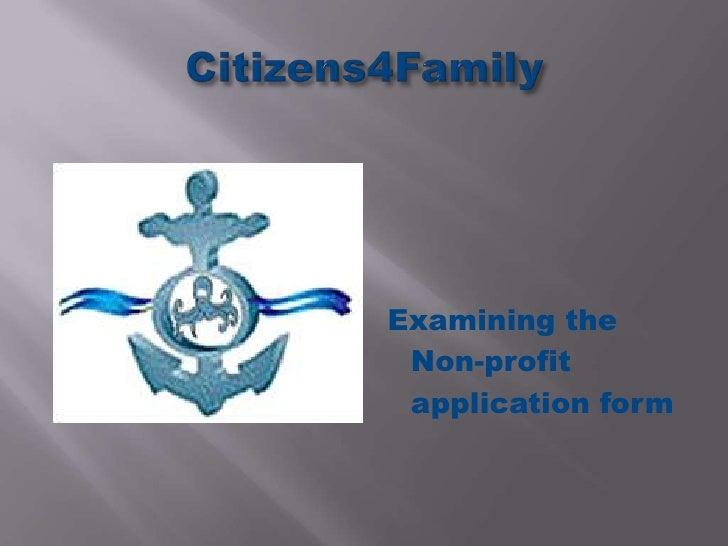 Examining the Non-profit application form