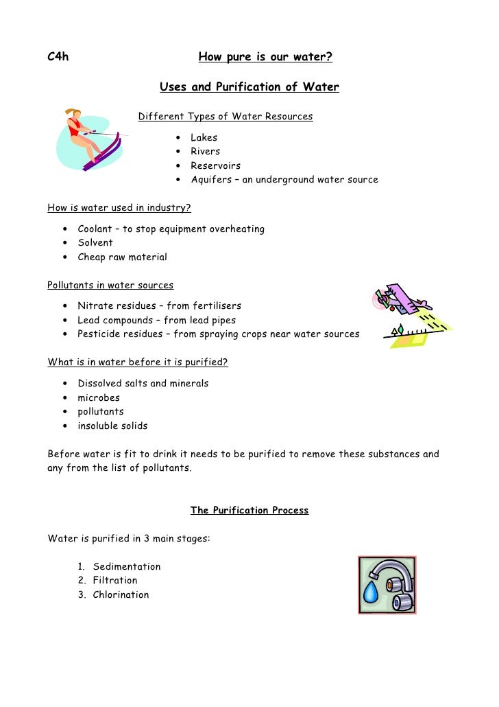 C4h                                How pure is our water?                          Uses and Purification of Water         ...