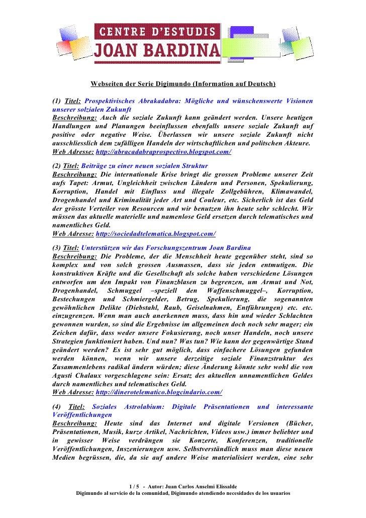Webseiten der Serie Digimundo (Information auf Deutsch)  (1) Titel: Prospektivisches Abrakadabra: Mögliche und wünschenswe...