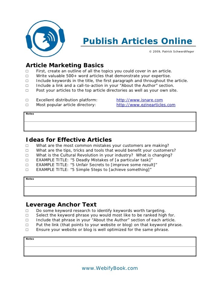 C51 article marketing worksheet