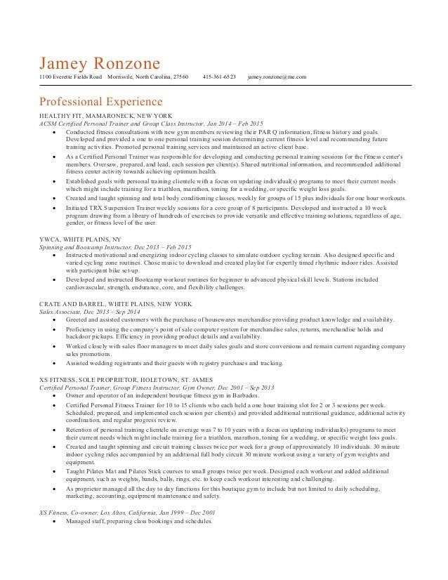 personal training resume  ncpersonal training resume  nc  jamey ronzone everette fields road morrisvile  north carolina