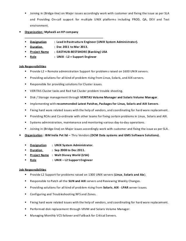 unix engineer resume kleo beachfix co