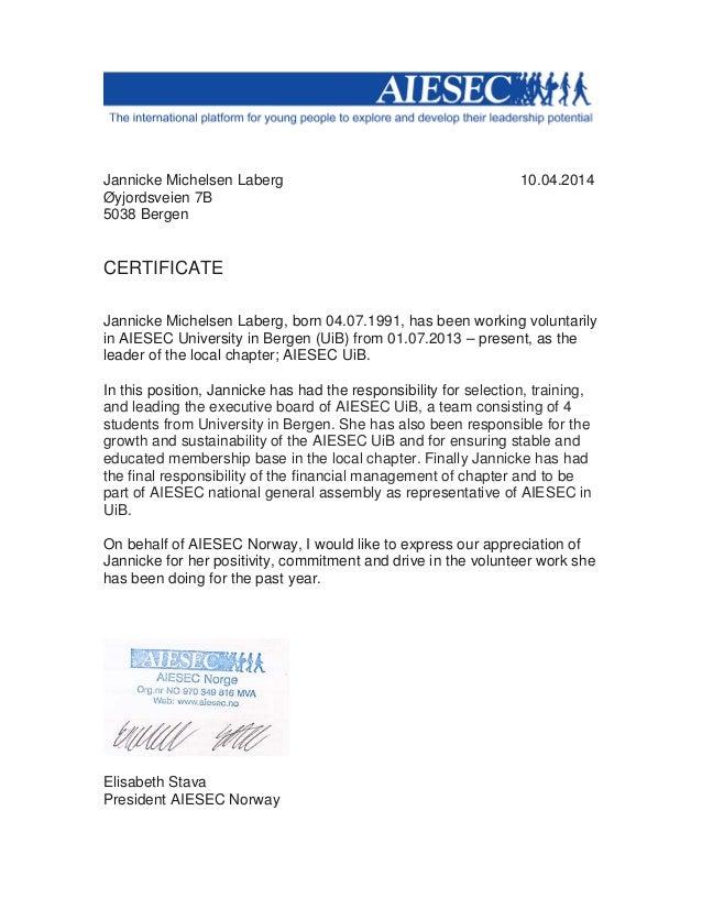 Aiesec Certificate