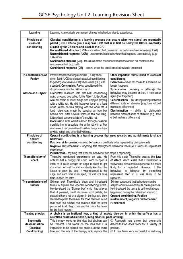 GCSE Psychology Unit 2: Learning Revision Sheet Learning Learning is a relatively permanent change in behaviour due to exp...