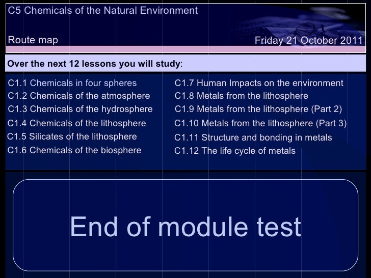 C5 Chemicals of the Natural Environment Route map Over the next 12 lessons you will study : Friday 21 October 2011 C1.1  C...
