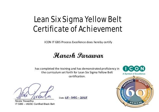 Lean Six Sigma Yellow BeltCertificate of AchievementICON IT GBS ...