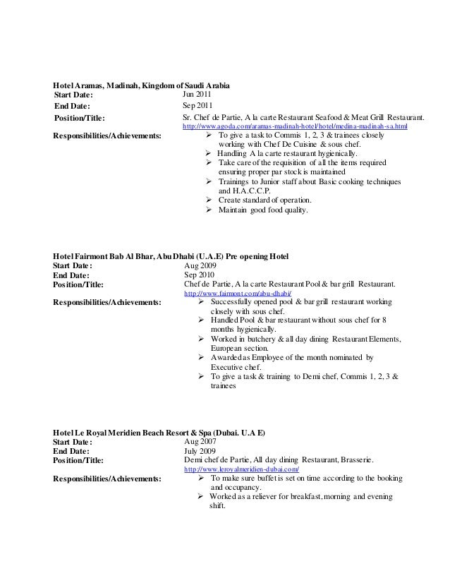 resume format for chef de partie 28 images chef de