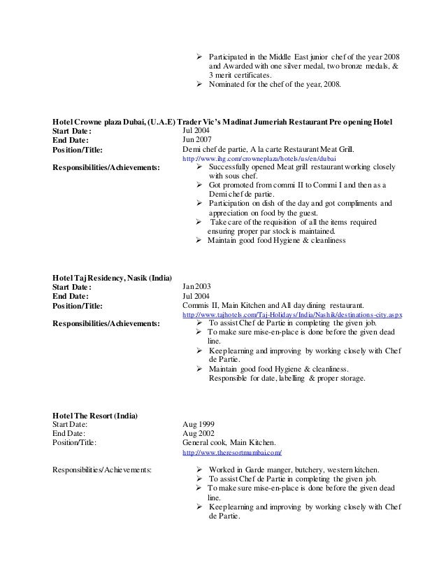 resume cook