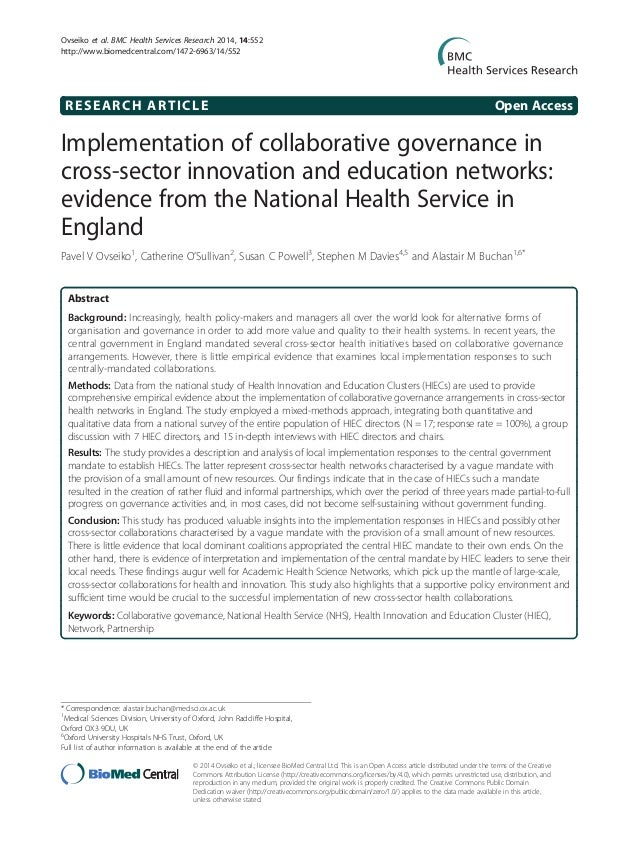 Teaching Collaborative Governance : Implementation of collaborative governance in nhs
