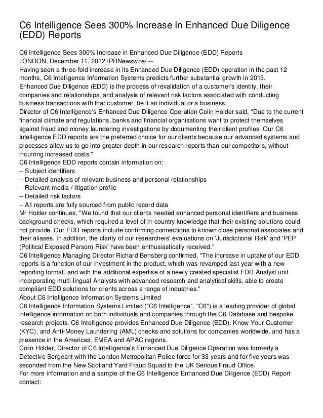 C6 Intelligence Sees 300% Increase In Enhanced Due Diligence(EDD) ReportsC6 Intelligence Sees 300% Increase in Enhanced Du...