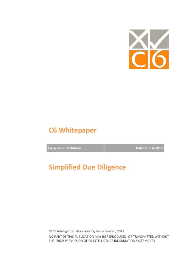 C6 intelligence Simiplified Due Dilligence whitepaper