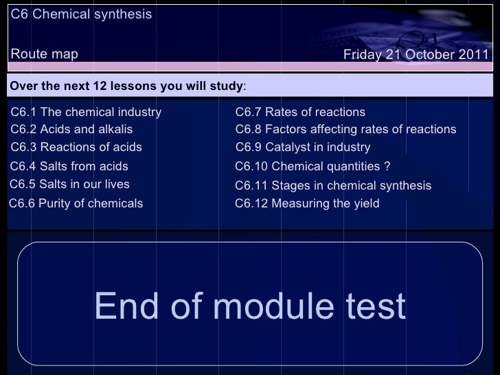 C6 Chemical synthesis Route map Over the next 12 lessons you will study : Friday 21 October 2011 C6.1 The chemical industr...