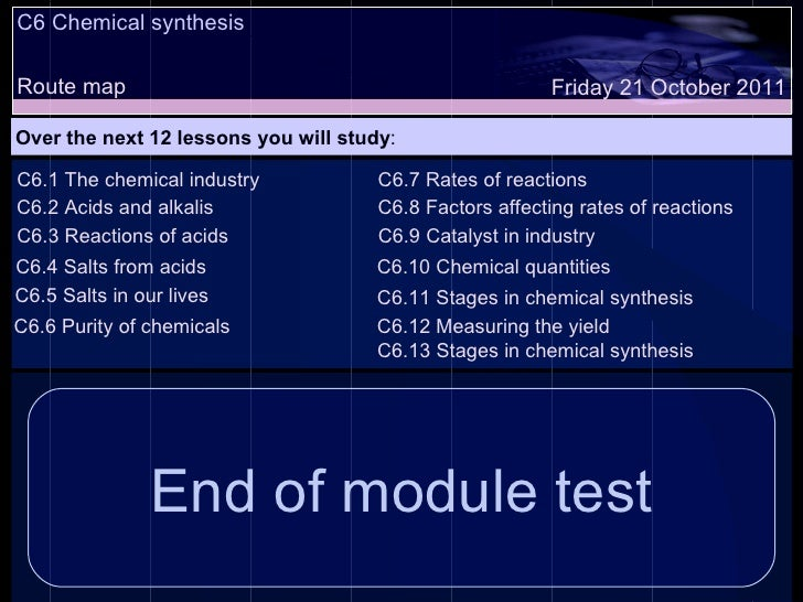 C6.13 Stages in chemical synthesis C6 Chemical synthesis Route map Over the next 12 lessons you will study : Friday 21 Oct...