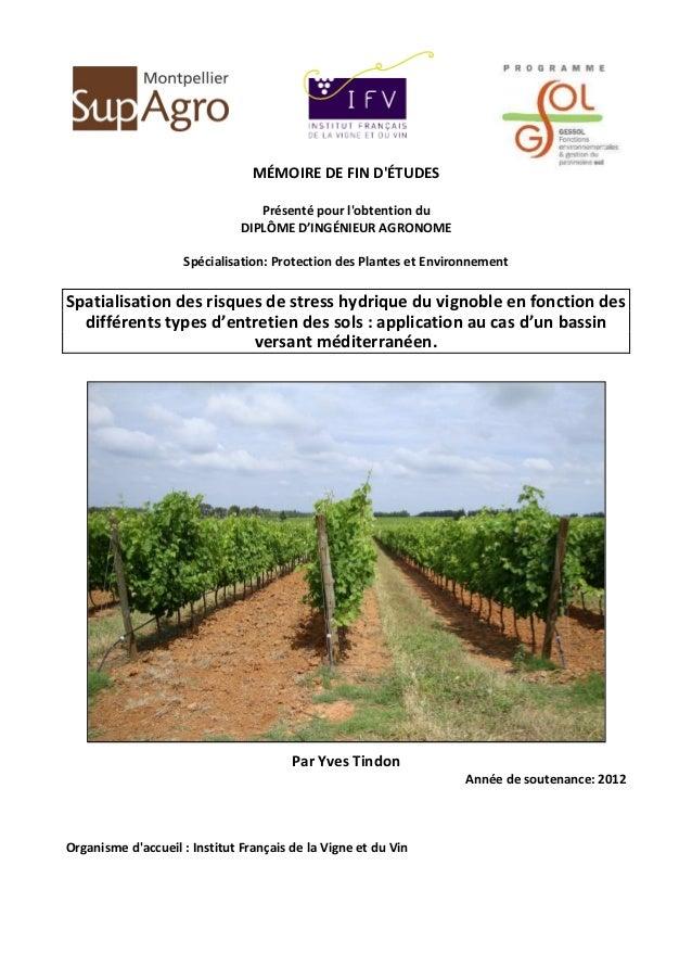 1 MÉMOIRE DE FIN D'ÉTUDES Présenté pour l'obtention du DIPLÔME D'INGÉNIEUR AGRONOME Spécialisation: Protection des Plantes...