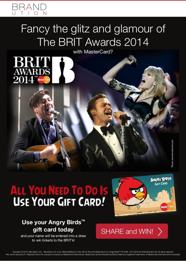 Fancy the glitz and glamour of The BRIT Awards 2014 with MasterCard?  All You Need To Do Is Use Your Gift Card! Use your A...