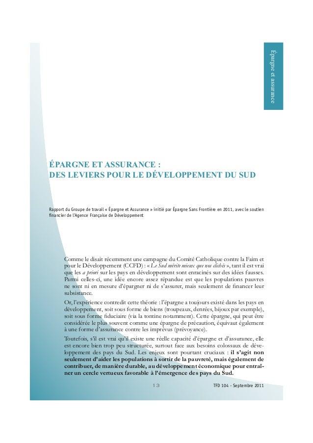 13 TFD 104 - Septembre 2011 e3$5*1( (7 $6685$1&(  '(6 /(9,(56 3285 /( 'e9(/233(0(17 '8 68' Rapport du Groupe de travail « ...