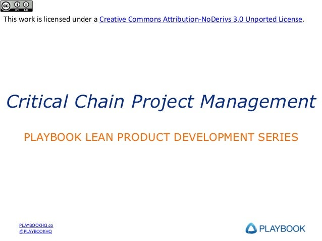 PLAYBOOK Training Series: Critical Chain Project Management