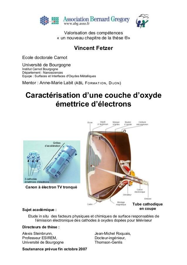 Valorisation des compétences « un nouveau chapitre de la thèse ®» Vincent Fetzer Ecole doctorale Carnot Université de Bour...