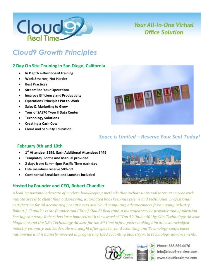 Cloud9 Growth Principles2 Day On Site Training in San Diego, California      In Depth e-Dashboard training      Work Sma...