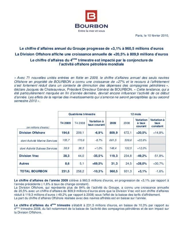 Paris, le 10 février 2010, Le chiffre d'affaires annuel du Groupe progresse de +3,1% à 960,5 millions d'euros La Division ...