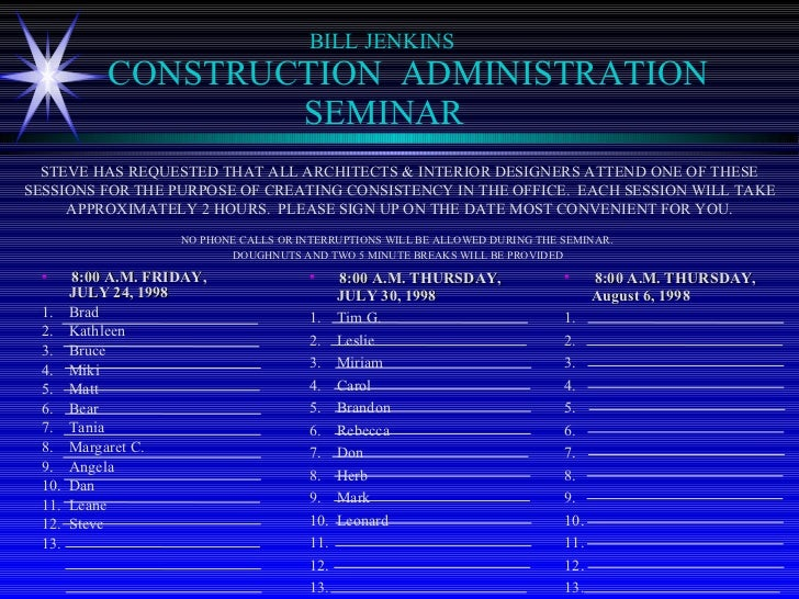 Construction Administration Seminar