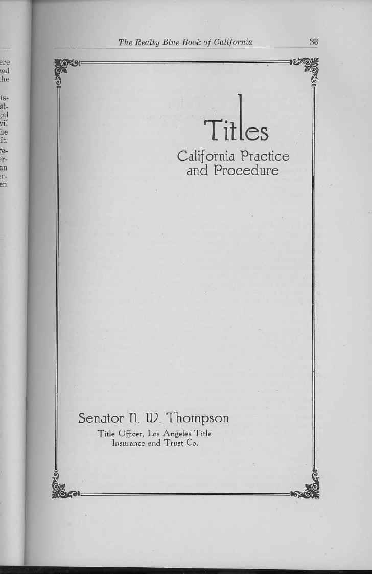 California Titles Practice Procedure Senator N W Thompson