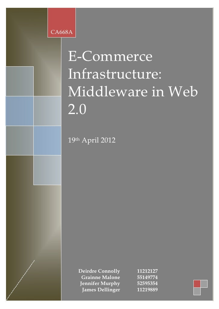 CA668A    E-Commerce    Infrastructure:    Middleware in Web    2.0    19th April 2012         Deirdre Connolly   11212127...