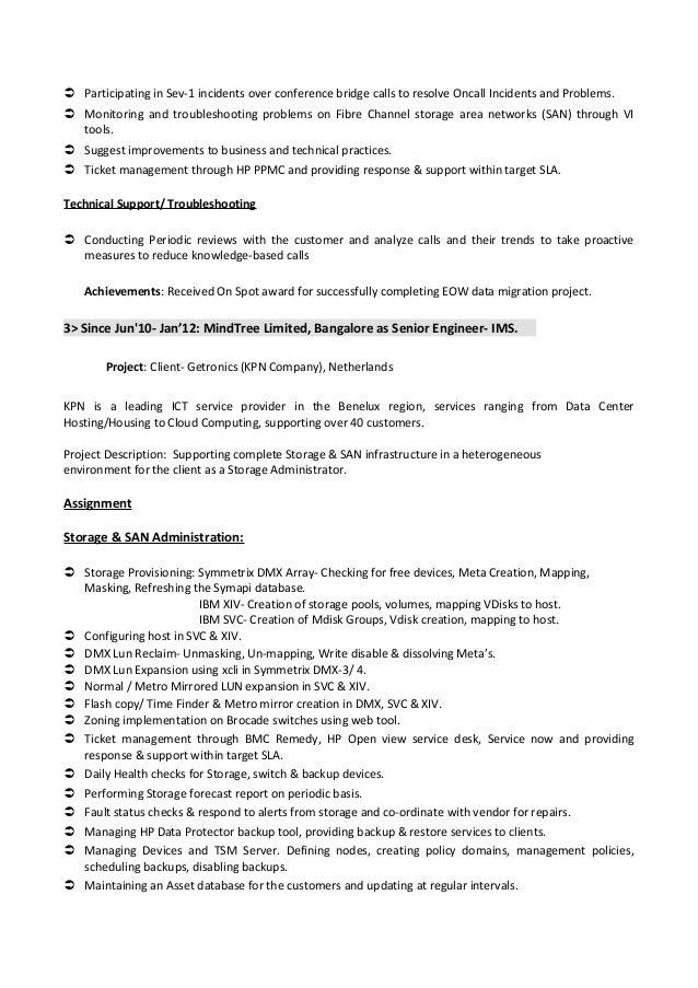 Netapp Technical Support Engineer Resume