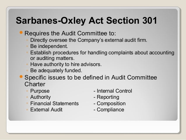 sarbanes oxley public policy Policy issues sarbanes-oxley sarbanes-oxley the enactment of the sarbanes-oxley act (sox) of 2002 public company auditors, and the markets.