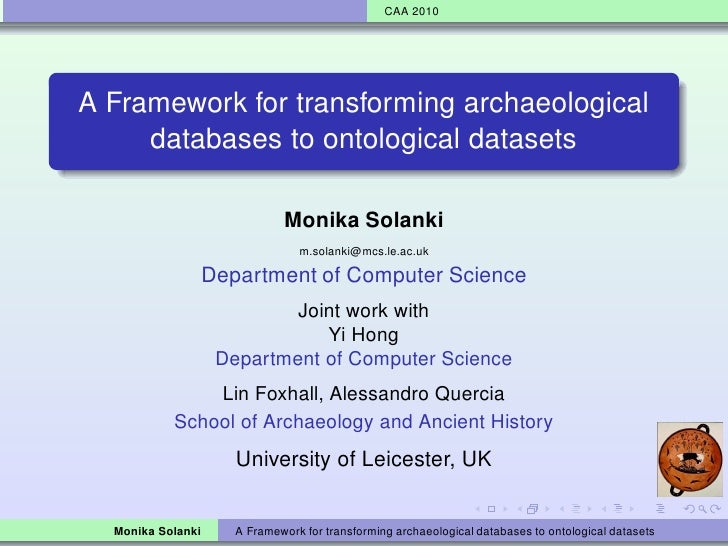 A Framework for transforming archaeological databases to ontological datasets