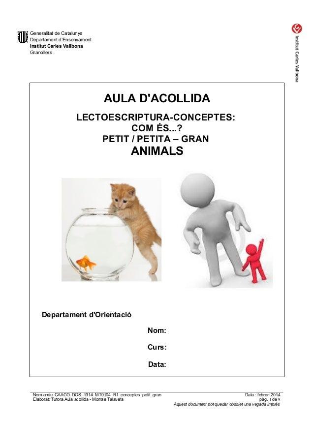 Generalitat de Catalunya Departament d'Ensenyament Institut Carles Vallbona Granollers  AULA D'ACOLLIDA LECTOESCRIPTURA-CO...