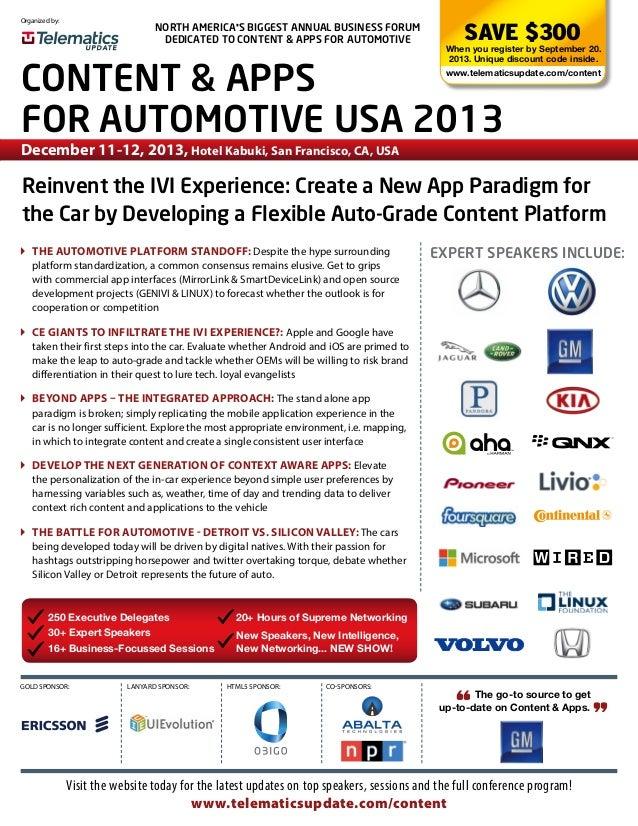 Content & Apps for Automotive USA 2013 Online Brochure