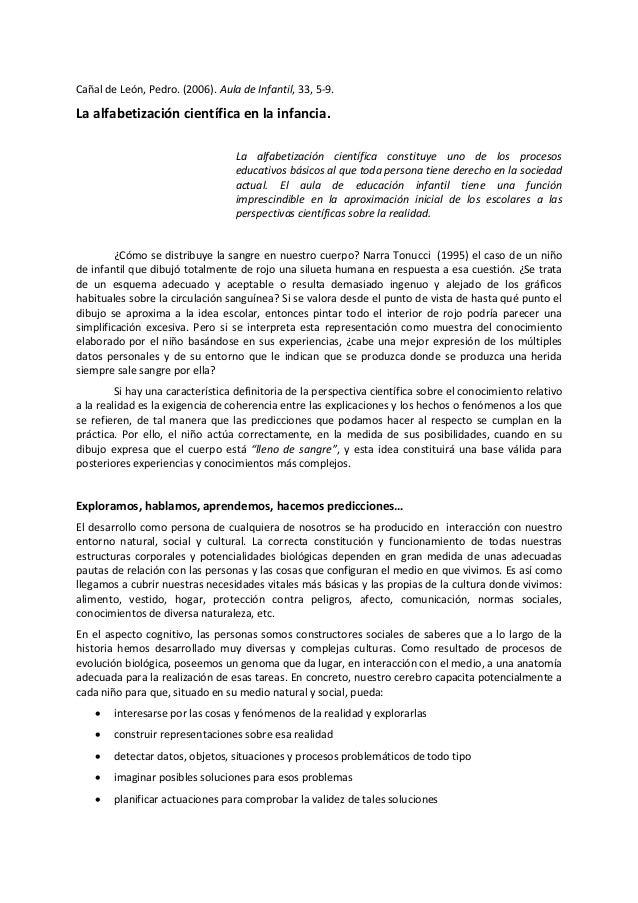 Cañal de León, Pedro. (2006). Aula de Infantil, 33, 5-9. La alfabetización científica en la infancia. La alfabetización ci...