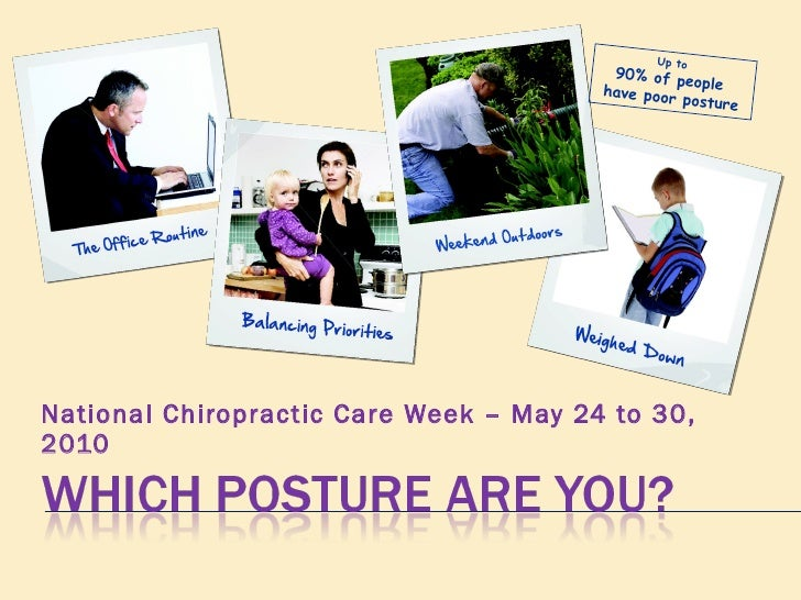 National Chiropractic Care Week – May 24 to 30, 2010 Up to  90% of people  have poor posture