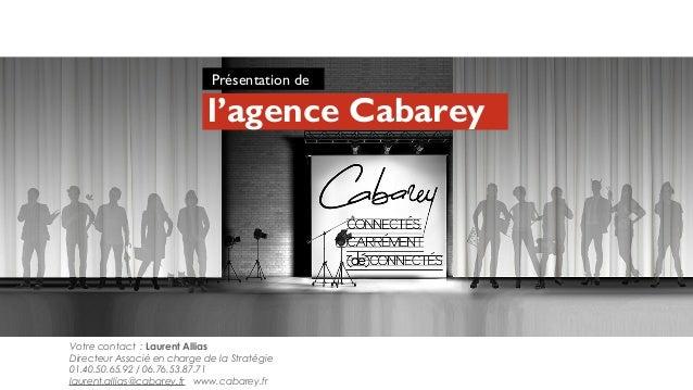Votre contact : Laurent AlliasDirecteur Associé en charge de la Stratégie01.40.50.65.92 / 06.76.53.87.71laurent.allias@cab...