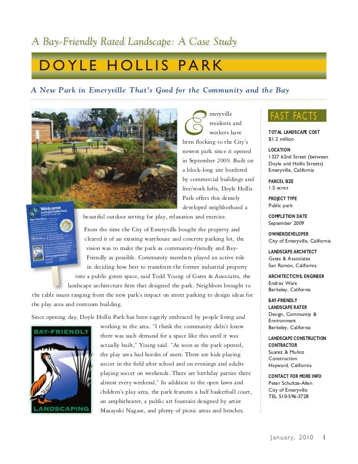 A Bay-Friendly Rated Landscape: A Case Study  DOYLE HOLLIS PARKA New Park in Emeryville That's Good for the Community and ...