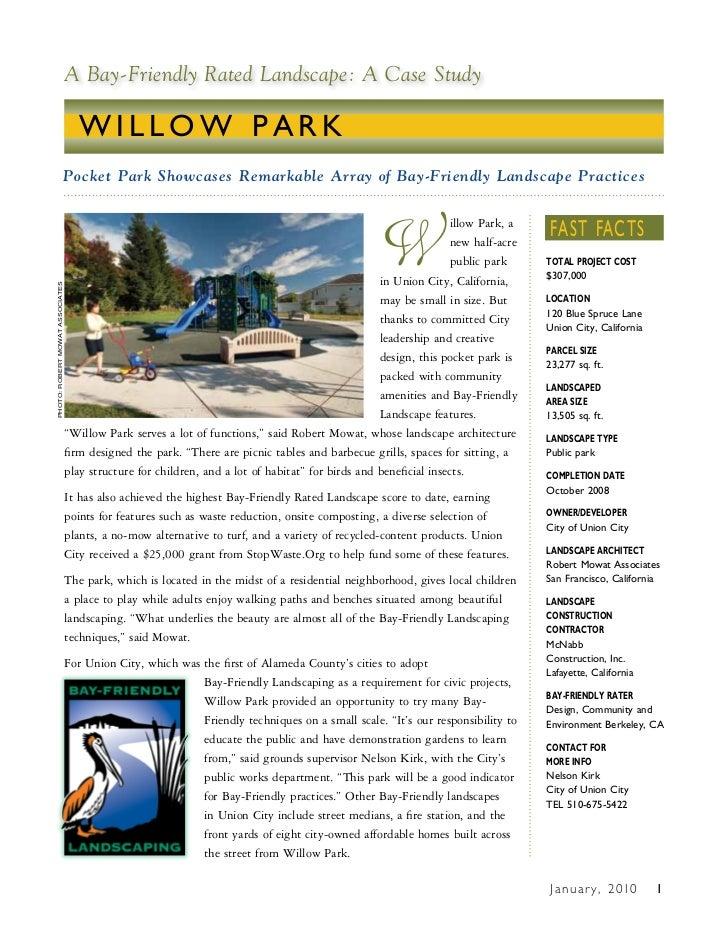 CA: Bay-Friendly Landscapes Case Studies - Willow Park