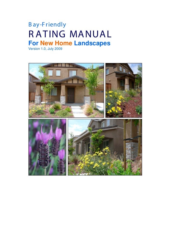CA: Bay-Friendly Rating Manual for New Homes Landscapes