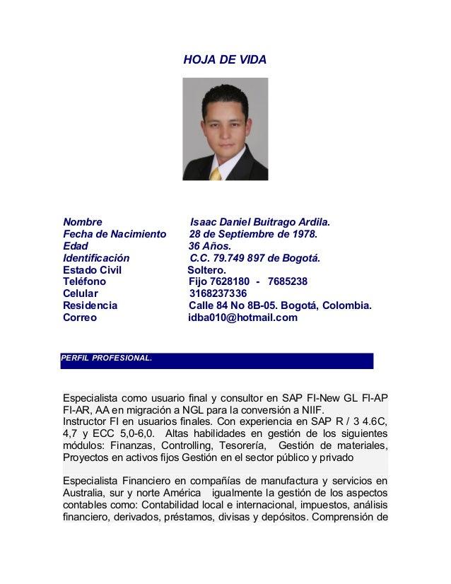 HOJA DE VIDA CONSULTOR SAP FI
