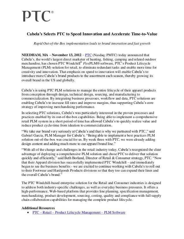 Cabela's Selects PTC to Speed Innovation and Accelerate Time-to-Value