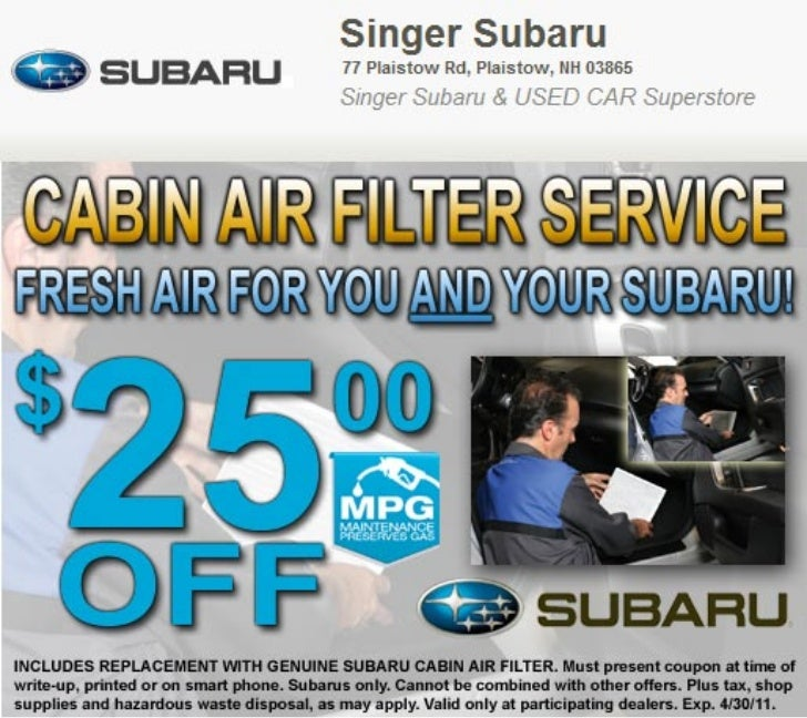 Cabin Air Filter Service Special Manchester NH | Singer Subaru