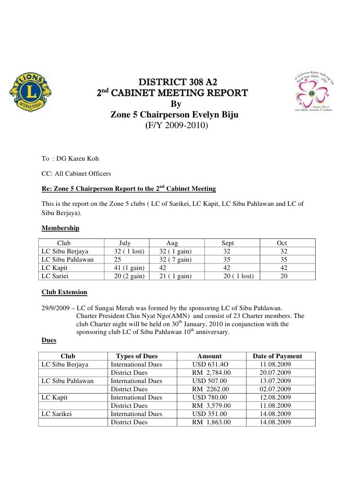 DISTRICT 308 A2                      nd                    2 CABINET MEETING REPORT         ...