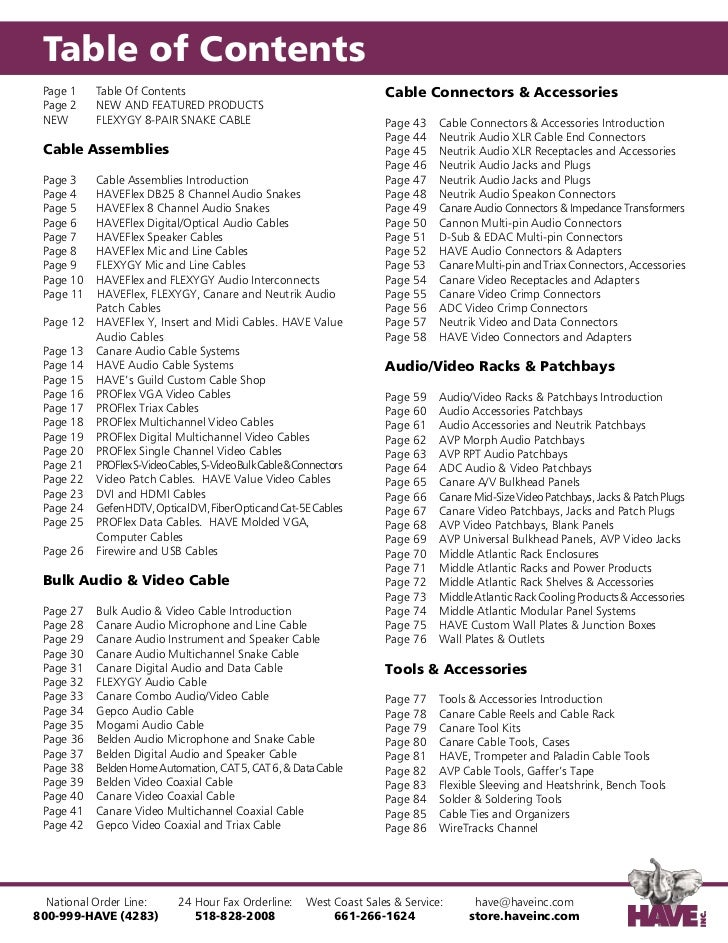 Table of Contents Page 1    Table Of Contents                                            Cable Connectors & Accessories Pa...
