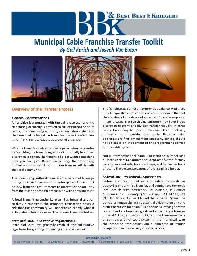 Municipal Cable Francshise Transfer Toolkit
