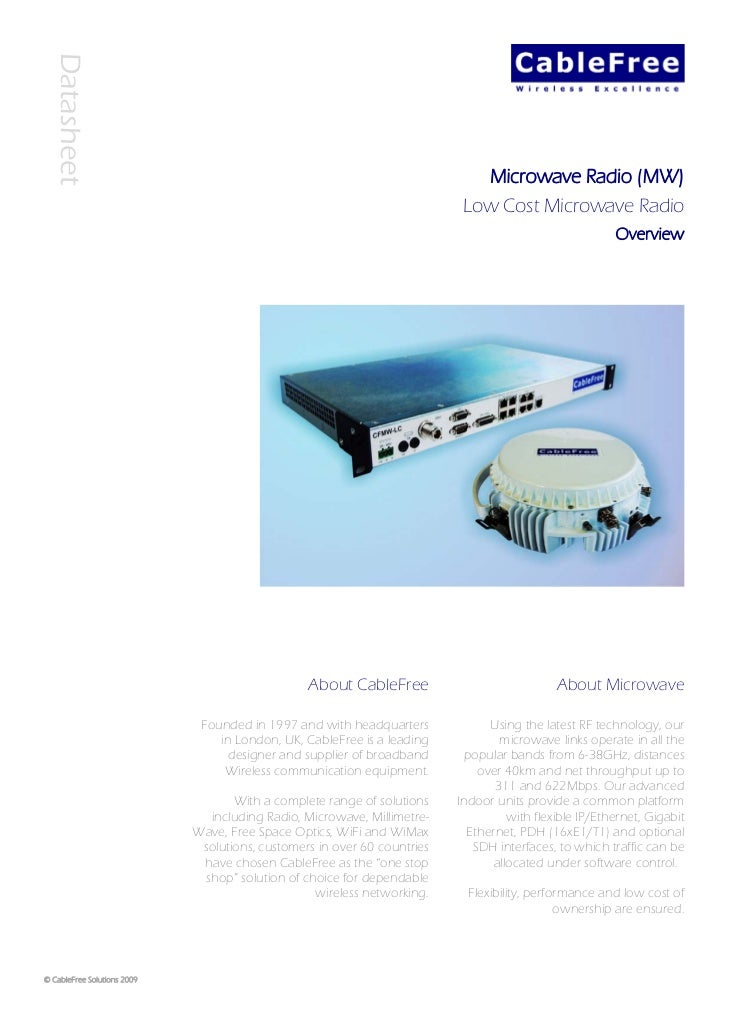 Cable free low cost microwave radio datasheet