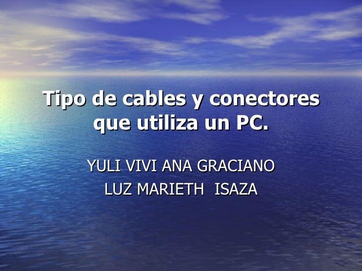 Tipo de cables y conectores que utiliza un PC. YULI VIVI ANA GRACIANO LUZ MARIETH  ISAZA