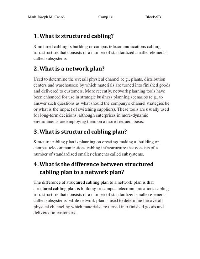 Mark Joseph M. Cañon  Comp131  Block-SB  1. What is structured cabling? Structured cabling is building or campus telecommu...