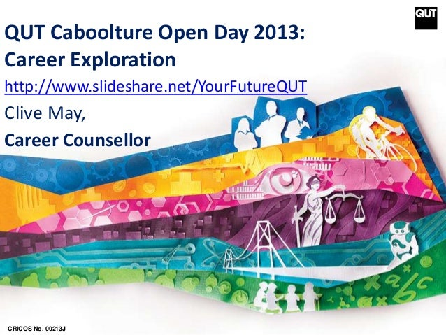 QUT Caboolture Open Day 2013: Career Exploration http://www.slideshare.net/YourFutureQUT Clive May, Career Counsellor CRIC...