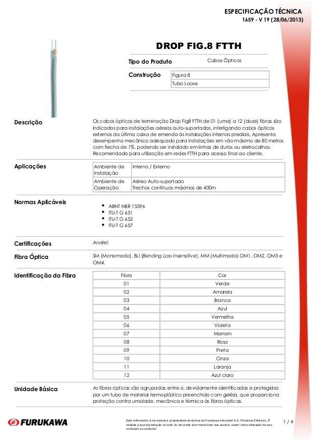 ESPECIFICAÇÃO TÉCNICA 1659 - V 19 (28/06/2013) 1 / 4Este informativo é de autoria e propriedade exclusiva da Furukawa Indu...